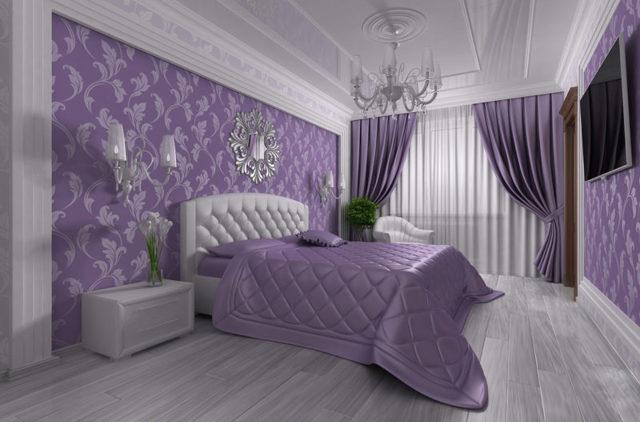 Фиолетовые шторы: применение в интерьере зала, гостиной, спальни, кухни, фото