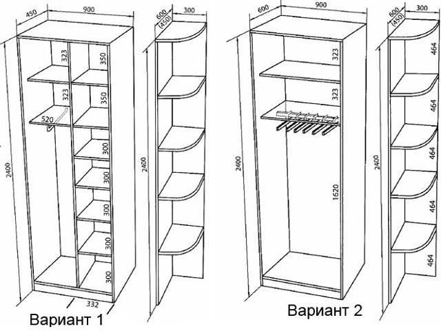 Размеры шкафа-купе: его глубина, ширина, высота и наполнение