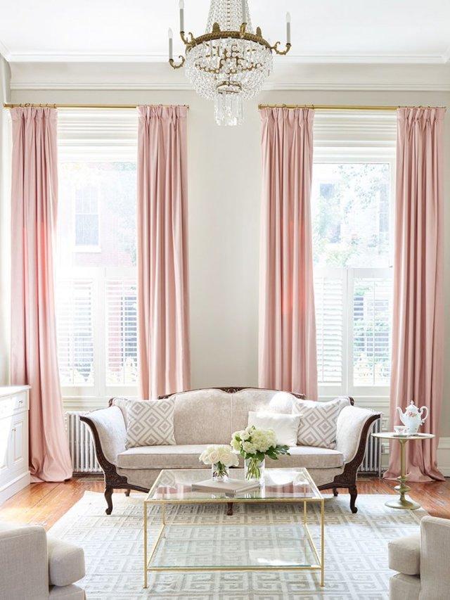 Розовые шторы: применение в интерьере гостиной, спальни, детской